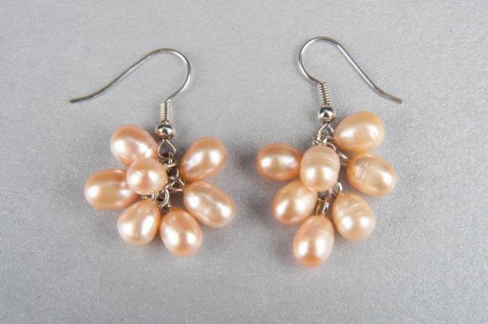Естествени перли обици - грозд
