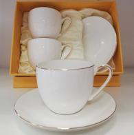 снимка на Големи, бели чаши за кафе и чай в комплект