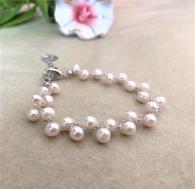 Гривна от естествени перли със сребро
