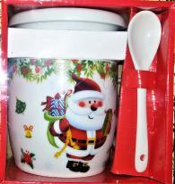 снимка на Коледни чаши с капак и лъжичка
