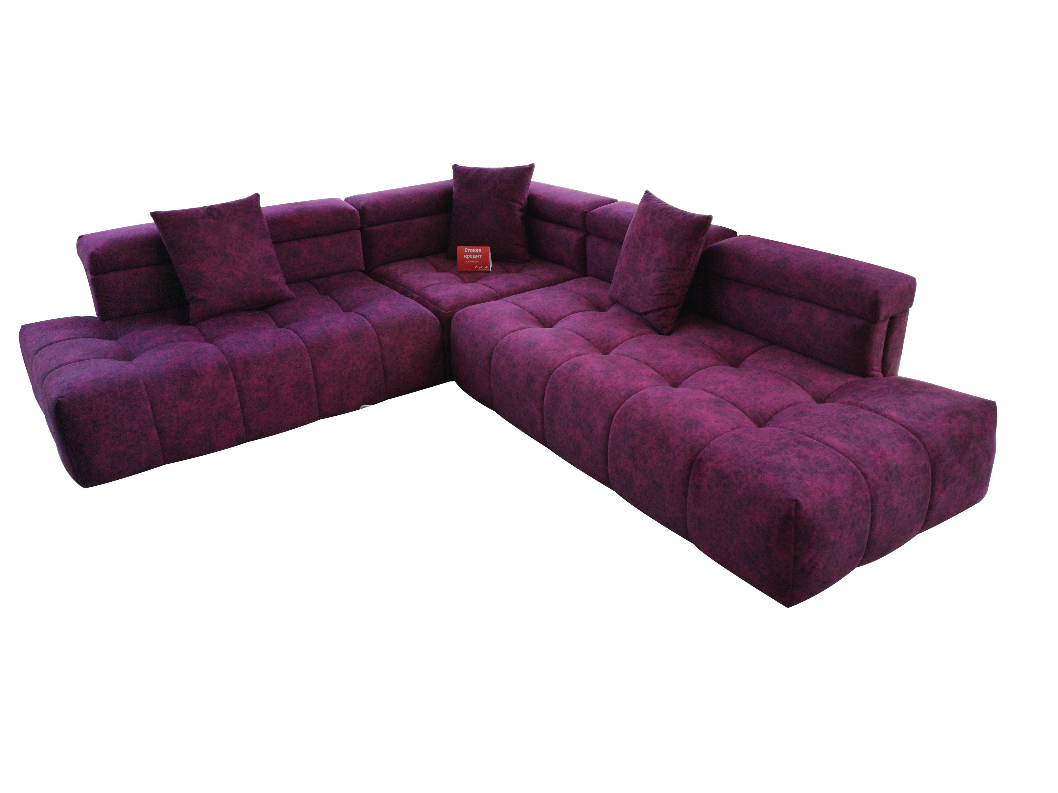 снимка на Ъглов диван в бордо с италиански дунапрен и дамаска Лукс