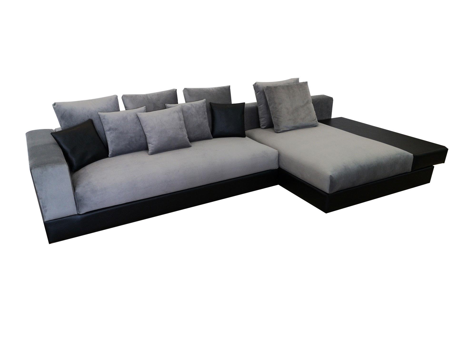 снимка на Ъглов диван с италиански дунапрен в сиво и черно