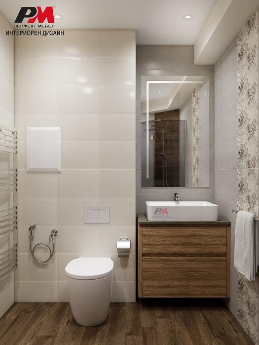 Интериорен проект на стилна баня в пастелни тонове и дървесни текстури