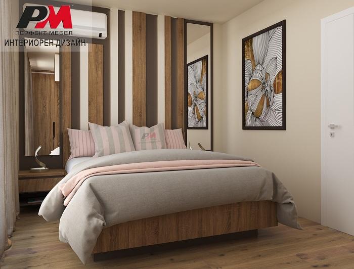 снимка на Съвременен интериор на родителска спалня в преобладаващи нежни кремави и дървесни тонове