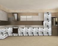 снимка на Кухненски мебели с бяло черни врати МДФ фолио