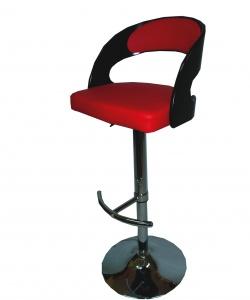 Бар стол с тапицерия в черно и червено