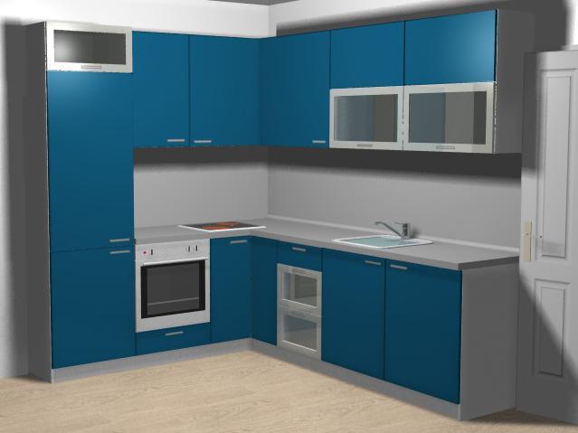 Г-образна кухня в бяло и синьо с шкаф остров