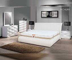 снимка на Бяло тапицирано легло еко кожа Моника