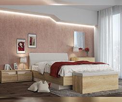 снимка на Легло с извита тапицирана табла Пенелопе