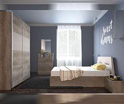 снимка на Спалня с тапицирана табла Нора