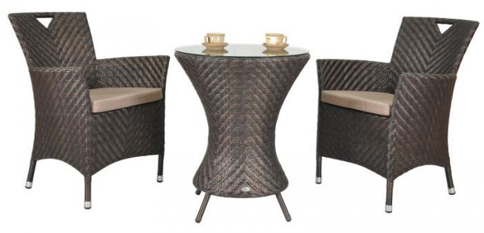 Кръгла маса от ратан и стъкло 122-2609