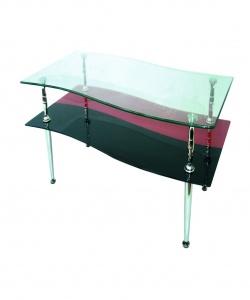 Холна маса с черно и червено стъкло