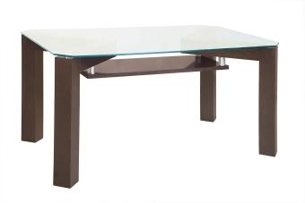 Трапезна маса от стъкло и масив
