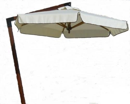 Кръгъл дървен чадър със странично отваряне