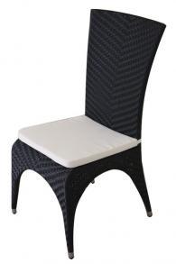 снимка на Стол черен ратан с висока облегалка и възглавница