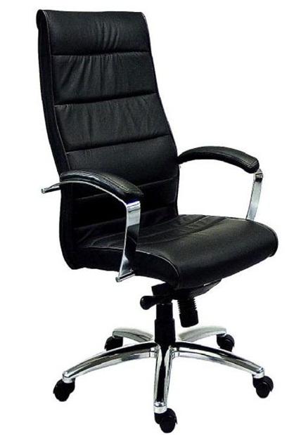 Черно офис кресло от естествена кожа