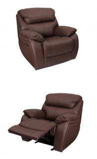 Кожен фотьойл с релакс механизъм SANDRA - кафяво