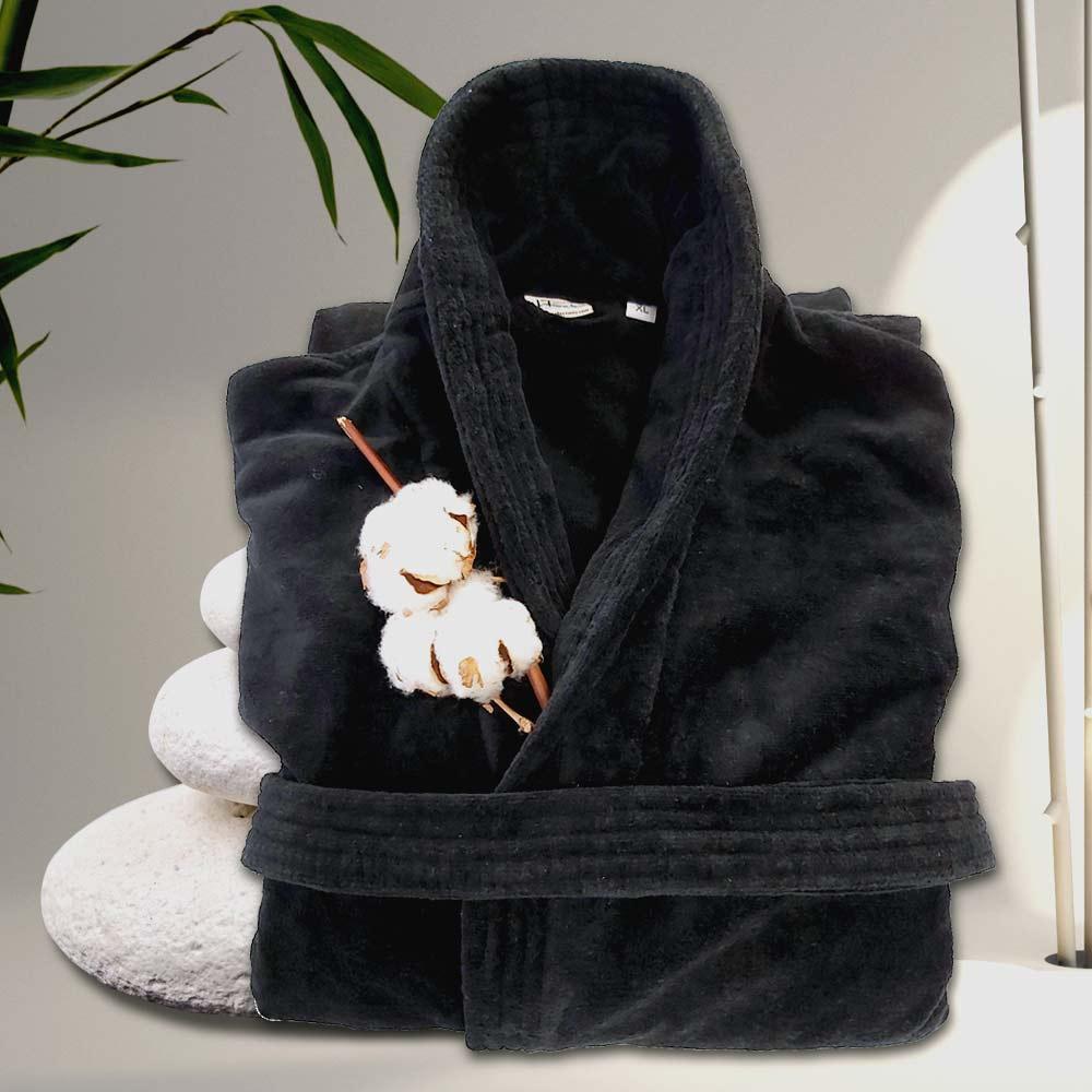 снимка на Стилен халат за баня в черно