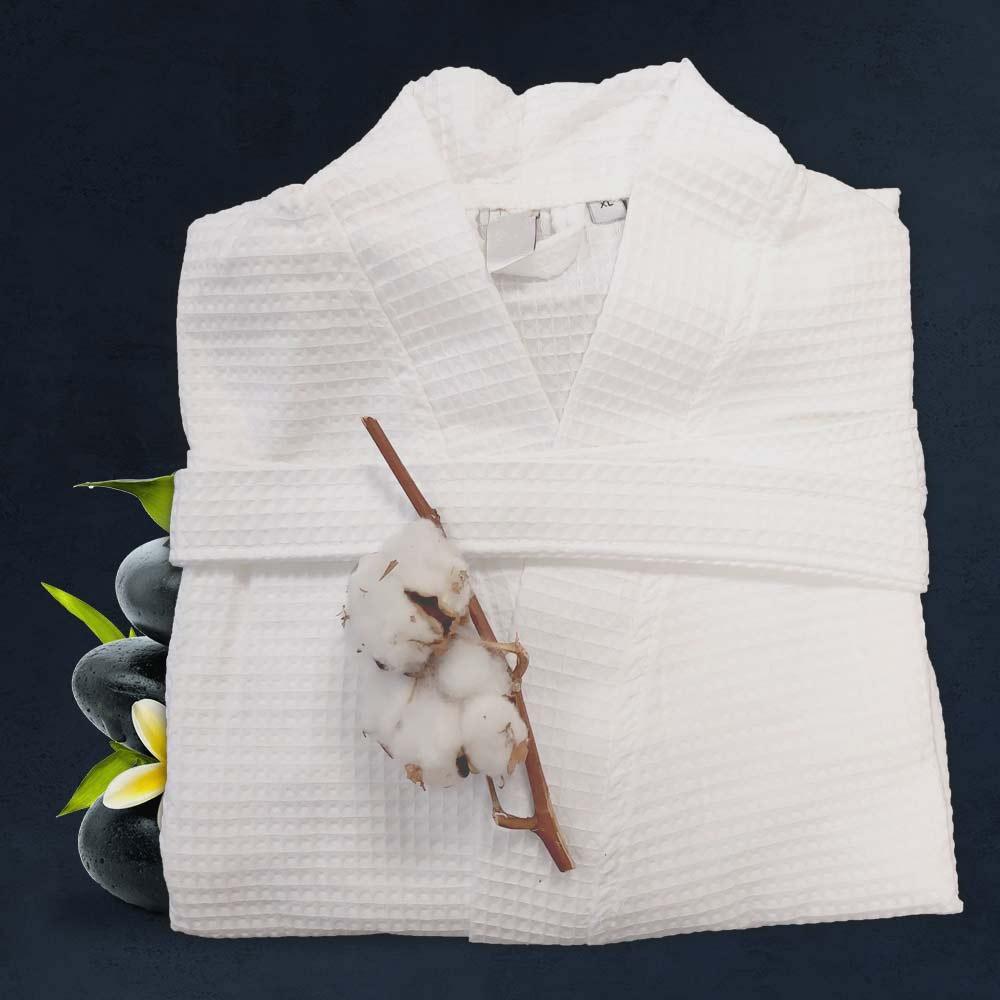 Бял халат за баня кимоно