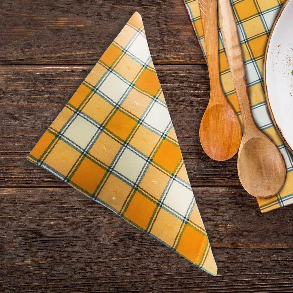 снимка на Текстилна салфетка жълто каре от HRS Collections